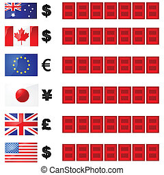 Currency rates board - Illustration of a currency rate board...