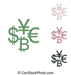 Currency sign collection dollar, euro, bitcoin, yen. Russian green icon with small jungle green, puce and desert sand ones on white background. Illustration.