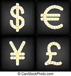 currency signs Dollar Euro Pound Yen Gr Badge  light background