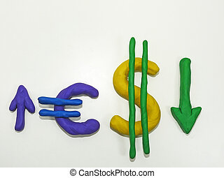 Currency signs made from plasticine.
