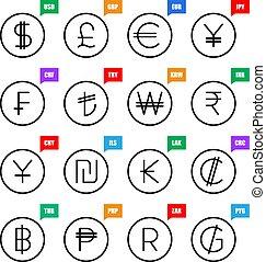 Currency signs. Money vector icons: US Dollar, UK Pound, Euro, Japanese Yen, Swiss Franc, Turkish Lira, South Korean Won, Indian Rupee, Chinese Yuan, Israel Sheqel, Kip, Colon, Baht, Peso, Rand, Colon