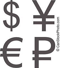 Currency signs set icon vector simple