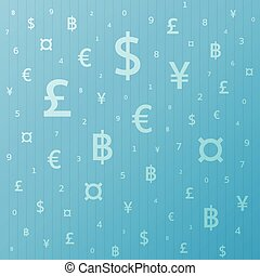 Currency symbol background dollar, euro, yen, pound, baht