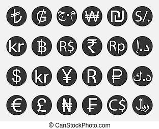 Currency symbol, icon set. Vector illustration, flat design.