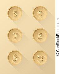 Currency symbol icons dollar, euro, yen, pound, baht