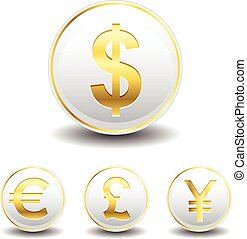 Currency Symbol Icons Gold Color and White