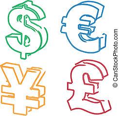 Currency symbol illustration whiteboard hand-drawn: dollar, euro, yen, pound