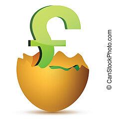 currency symbol inside egg profits concept