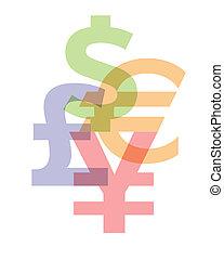 Currency symbols: Dollar, Euro, Pound, Yen
