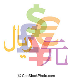 Currency Symbols - Currency symbols: Dollar, Euro, Pound,...