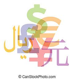 Currency symbols: Dollar, Euro, Pound, Yen, Yuan, Arabic currency