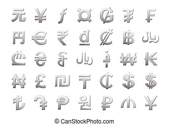 Currency symbols of the world isolated on white