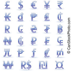 Currency symbols of the world - Set of currency symbols of...