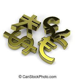 3D golden currency symbols set on white background illustration