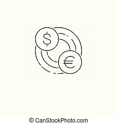 Currency transfer icon isolated. Single thin line symbol of rate.