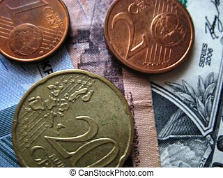 Currency %u2013 euro, cents, dollars, Egyptian pounds. Background