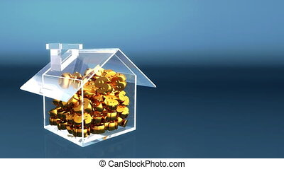 saving dollars to buy a house concept