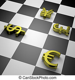 Currency war - 3D golden currency symbols on chessboard