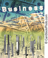 Currency with abstract city