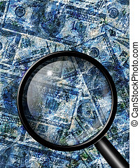 Currency with texture with magnify glass