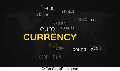 Currency Words Array Black World