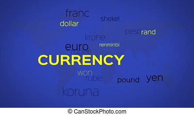 Currency Words Array Blue World