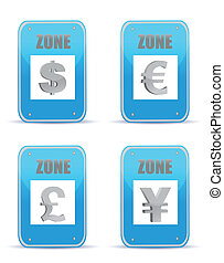 Currency zones symbol illustration