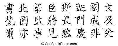 Current Chinese cursive writing, vintage engraving.