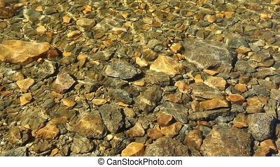 Current in Clear Mountain Stream - Close-up of current in a...