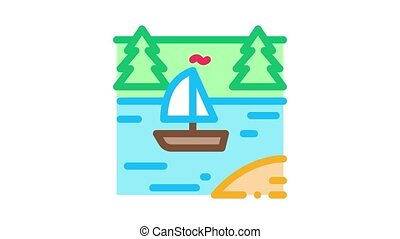 current river among gorge Icon Animation. color current river among gorge animated icon on white background