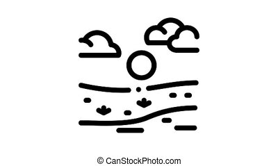 current river among urban city Icon Animation. black current river among urban city animated icon on white background