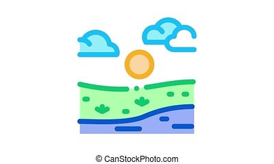 current river among urban city Icon Animation. color current river among urban city animated icon on white background
