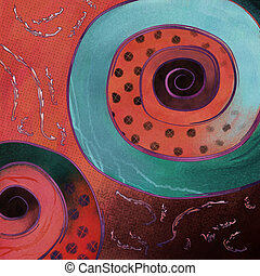 Current - painting of modern abstract art dots and spirals