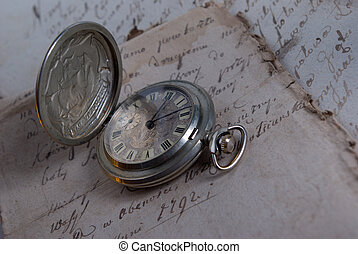Current time - old watch,old-time documents,past and future