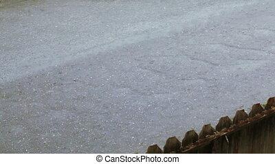 Current water on asphalt
