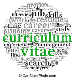 Curriculum vitae  concept in word tag cloud