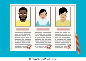 Curriculum vitae recruitment candidate job position. concept of the job interview with business resume. Cartoon flat vector illustration