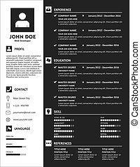 Curriculum Vitae Resume Dark Template Vector