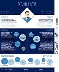 Curriculum vitae resume in blue and white