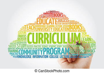 CURRICULUM word cloud collage with marker, education concept...