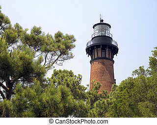 Currituck Beach Lighthosue, NC - The unpainted red brick...