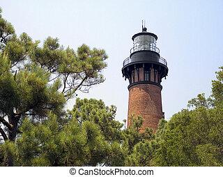 Currituck Beach Lighthosue, NC - The unpainted red brick...