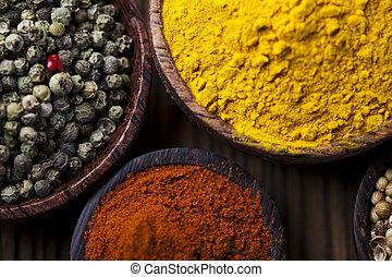 curry, épice, bassin bois