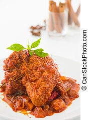 curry chicken, indian cuisine with traditional food items on...