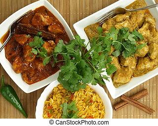 curry, höna, och, ris