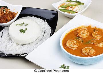 curry, indien, garnele, goan