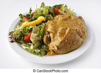 Curry Jacket Potato with side salad - A Curry baked potato ...