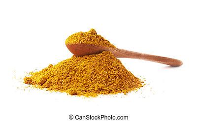 curry, na, stos, łyżka, proszek