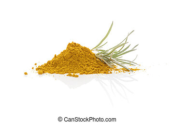 Curry plant and curry spice isolated on white background....