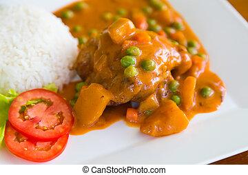 curry pollo, servito, con, riso